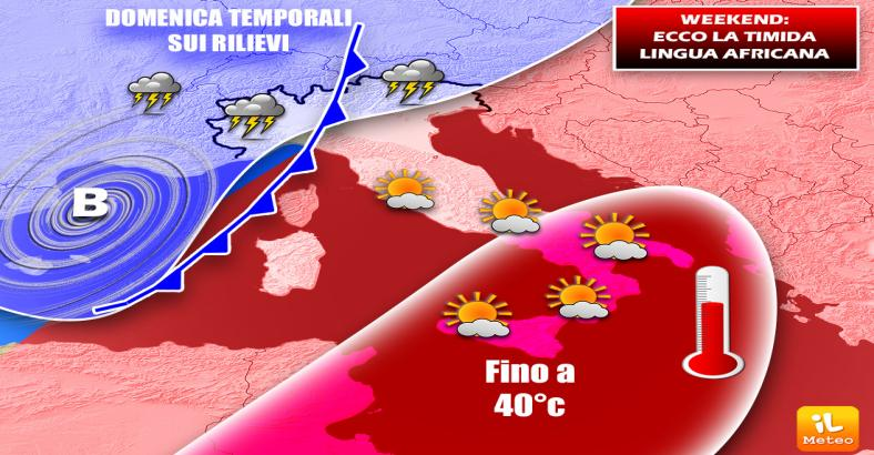 METEO: WEEKEND DI SUPERCALDO, TEMPORALI AL NORD